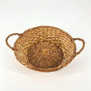 Boho Woven Small Circular Handle Wicker Basket